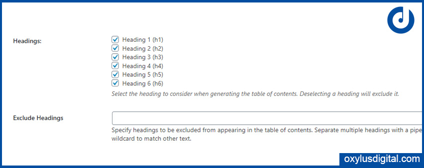 Advanced Settings Easy Table of Contents
