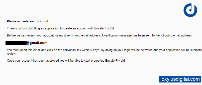 Envato ThemeForest Affiliate Account Email Verification