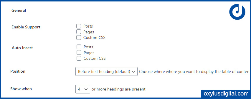 General Settings of Easy Table of Contents Plugin