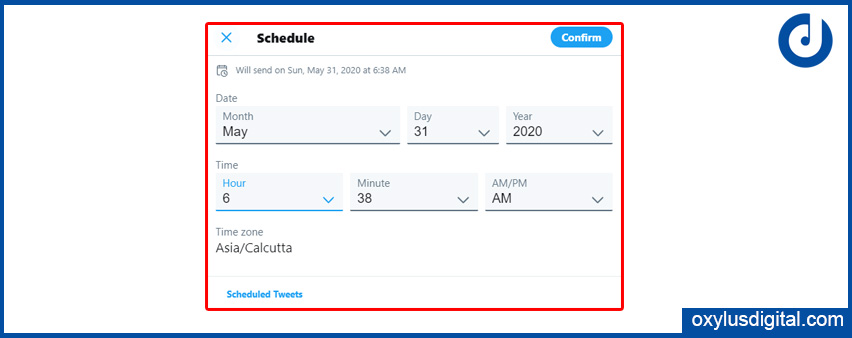 Set Tweet Schedule Date and Time