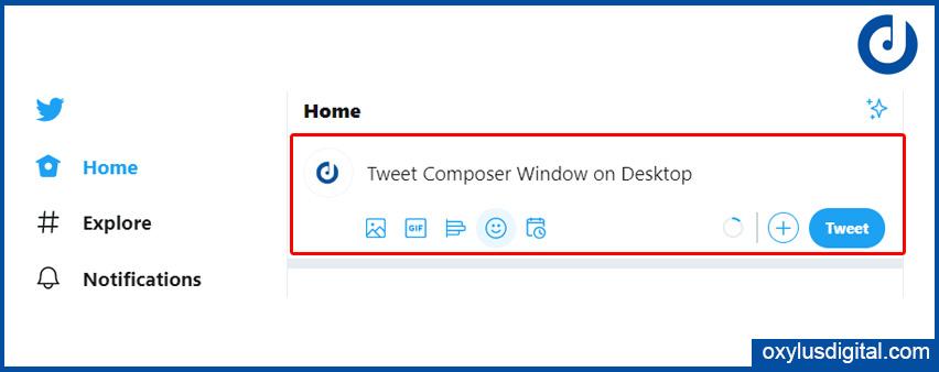 Tweet Composer Window on Desktop