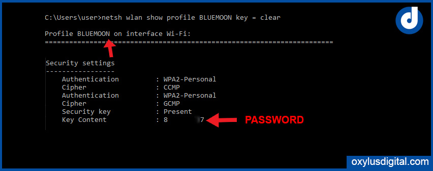 view saved wifi password of Windows using cmd