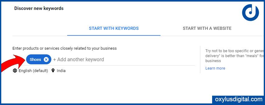 Enter a keyword in Google Keyword Planner