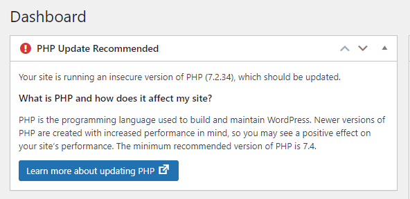 WordPress PHP Update Recommended